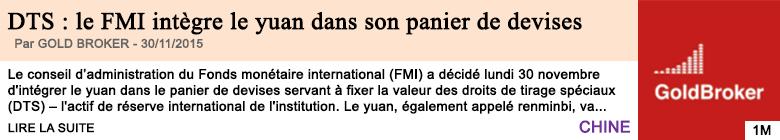 Economie dts le fmi integre le yuan dans son panier de devises
