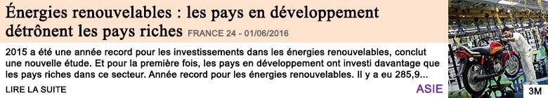 Economie energies renouvelables les pays en developpement detronent les pays riches