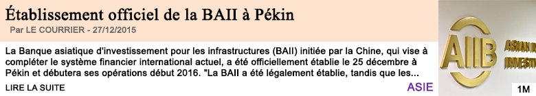 Economie etablissement officiel de la baii a pekin