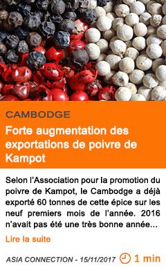 Economie forte augmentation des exportations de poivre de kampot