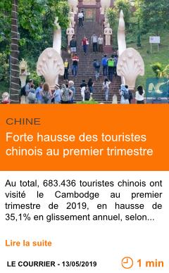 Economie forte hausse des touristes chinois au premier trimestre page001
