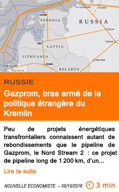 Economie gazprom bras arme de la politique etrangere du kremlin