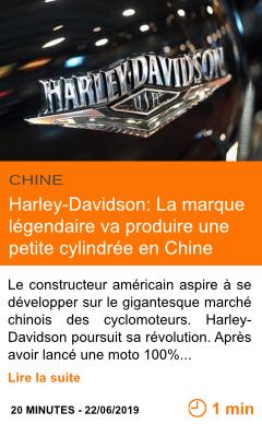Economie harley davidson la marque legendaire va produire une petite cylindree en chine page001