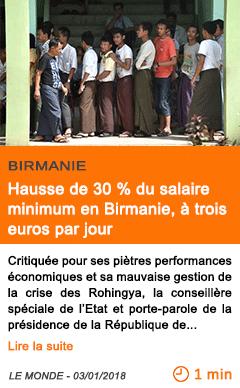 Economie hausse de 30 du salaire minimum en birmanie a trois euros par jour