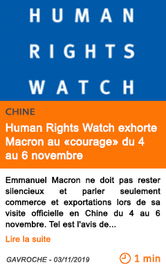 Economie human rights watch exhorte macron au courage du 4 au 6 novembre