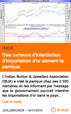Economie inde des rumeurs d interdiction d importation d or sement la panique
