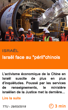 Economie israel face au peril chinois