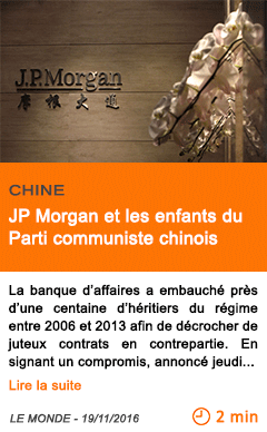 Economie jp morgan et les enfants du parti communiste chinois