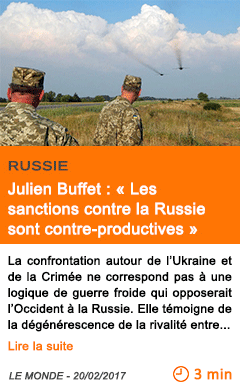 Economie julien buffet les sanctions contre la russie sont contre productives