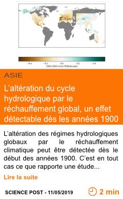 Economie l alteration du cycle hydrologique par le rechauffement global un effet detectable des les annees 1900 page001