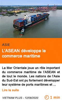 Economie l asean developpe le commerce maritime