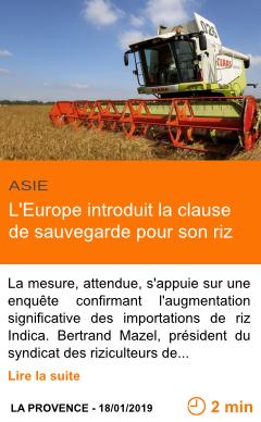 Economie l europe introduit la clause de sauvegarde pour son riz page001