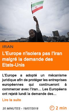Economie l europe n isolera pas l iran malgre la demande des etats unis