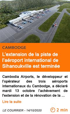 Economie l extension de la piste de l ae roport international de sihanoukville est termine e