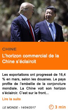 Economie l horizon commercial de la chine s eclaircit