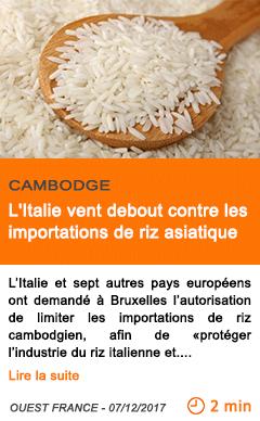 Economie l italie vent debout contre les importations de riz asiatique