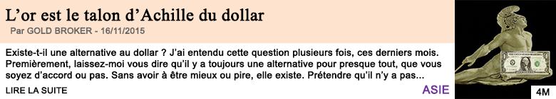 Economie l or est le talon d achille du dollar 1