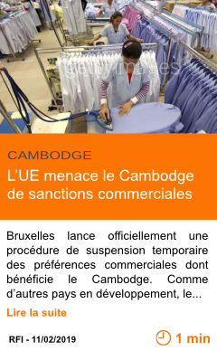 Economie l ue menace le cambodge de sanctions commerciales page001 1