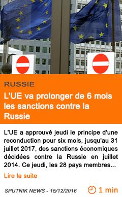 Economie l ue va prolonger de 6 mois les sanctions contre la russie