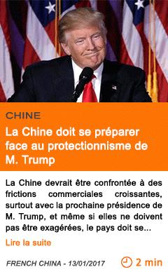 Economie la chine doit se preparer face au protectionnisme de m