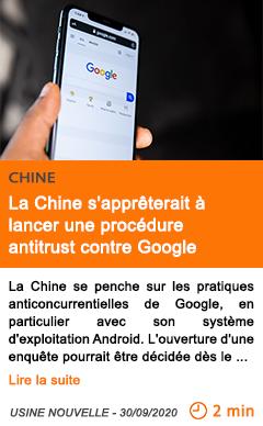 Economie la chine s appre terait a lancer une proce dure antitrust contre google
