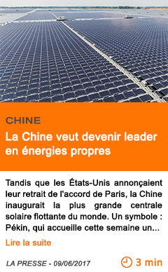 Economie la chine veut devenir leader en energies propres