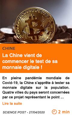 Economie la chine vient de commencer le test de sa monnaie digitale