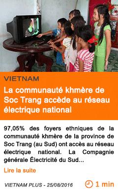Economie la communaute khmere de soc trang accede au reseau electrique national
