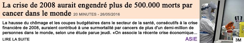 Economie la crise de 2008 aurait engendre plus de 500 000 morts par cancer dans le monde