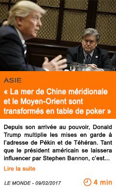 Economie la mer de chine meridionale et le moyen orient sont transformes en table de poker