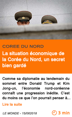 Economie la situation economique de la coree du nord un secret bien garde