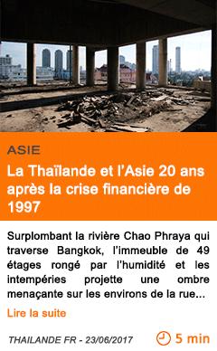 Economie la thailande et l asie 20 ans apres la crise financiere de 199