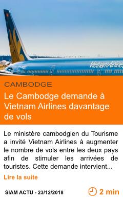 Economie le cambodge demande a vietnam airlines davantage de vols page001