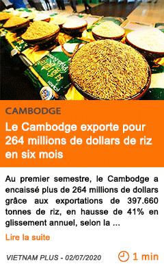 Economie le cambodge exporte pour 264 millions de dollars de riz en six mois