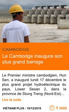 Economie le cambodge inaugure son plus grand barrage page001