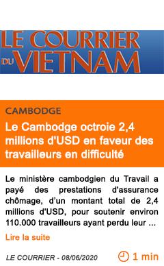 Economie le cambodge octroie 2 4 millions d usd en faveur des travailleurs en difficulte