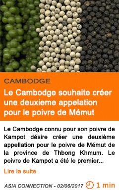 Economie le cambodge souhaite creer une deuxieme appelation pour le poivre de memut