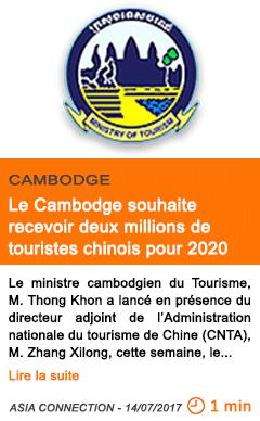 Economie le cambodge souhaite recevoir deux millions de touristes chinois pour 2020