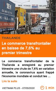 Economie le commerce transfrontalier en baisse de 7 6 au premier trimestre