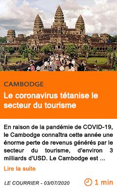 Economie le coronavirus tetanise le secteur du tourisme