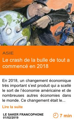 Economie le crash de la bulle de tout a commence en 2018 page001