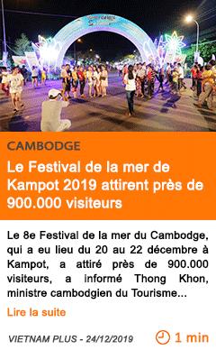 Economie le festival de la mer de kampot 2019 attirent pres de 900