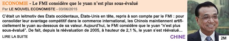 Economie le fmi considere que le yuan n est plus sous evalue
