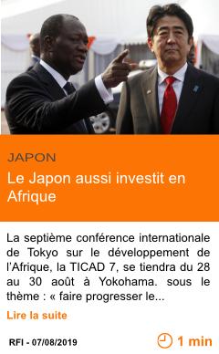 Economie le japon aussi investit en afrique page001