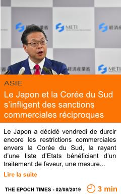 Economie le japon et la coree du sud s infligent des sanctions commerciales reciproques page001