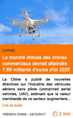 Economie le marche chinois des drones commerciaux devrait atteindre 7 69 milliards d euros d ici 2020