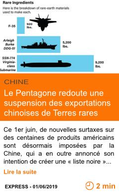 Economie le pentagone redoute une suspension des exportations chinoises de terres rares page001