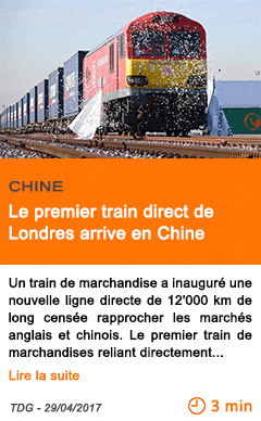 Economie le premier train direct de londres arrive en chine