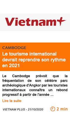 Economie le tourisme international devrait reprendre son rythme en 2021