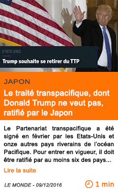 Economie le traite transpacifique dont donald trump ne veut pas ratifie par le japon